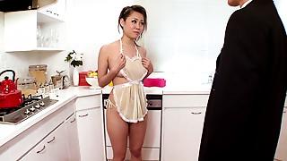 Asian,Blowjob,Cumshot,Housewife,Kitchen,Teen,Uniform,Wife