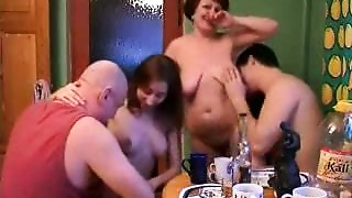 Daughter,Gangbang,Group Sex,Fucking,Kitchen,Mature,MILF,Old and young,Russian,Stepmom